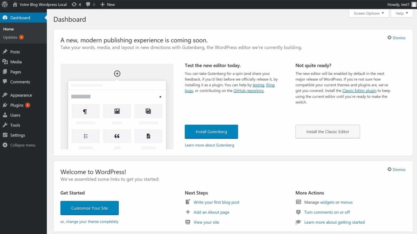 Capture d'écran dashboard WordPress